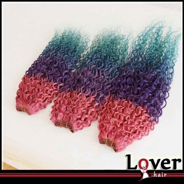 Grade 7a Mermaid Ombre Brazilian Hair 4tone Pinkpurplebluelight