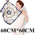 60 cm * 60 cm de Las Mujeres 2016 Nueva Moda Euro Retro Clave y Cuerda de Seda Imitado Impreso Señora Bufanda Cuadrada Venta caliente
