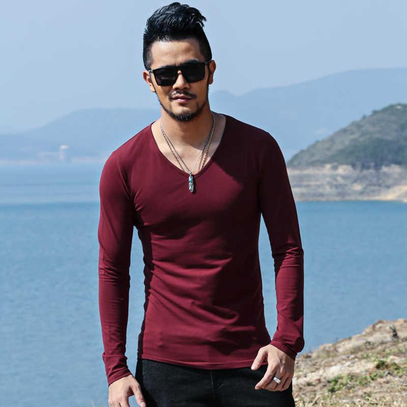 男性ブランド長袖カジュアルコットン Tシャツ男性固体高ファッションスリムフィットネスデザイナー Tシャツ男性ホット販売 New tシャツ