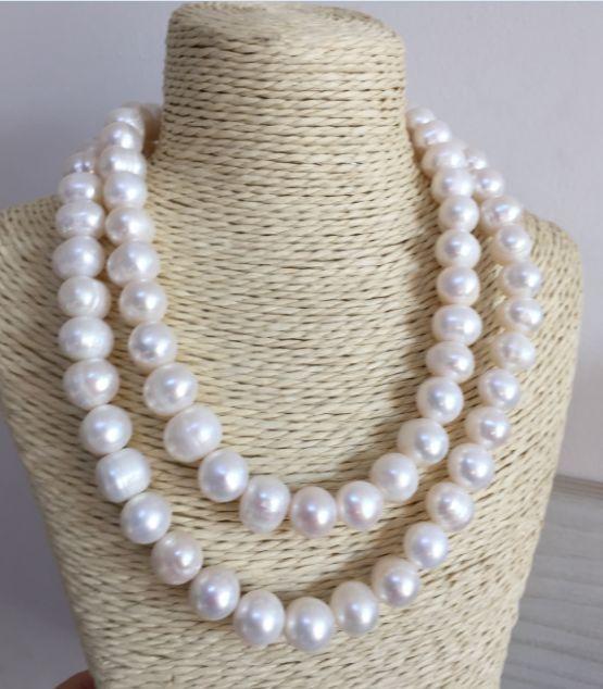 Double brins 12-13mm baroque mer du sud collier de perles blanches 38 poucesDouble brins 12-13mm baroque mer du sud collier de perles blanches 38 pouces