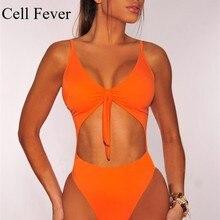цены Summer Swimwear 2019 Sexy One Piece Swimsuit Women's Spaghetti Strap Tie Cut Out High Waist Bodysuit Monokini Bathing Swimsuits