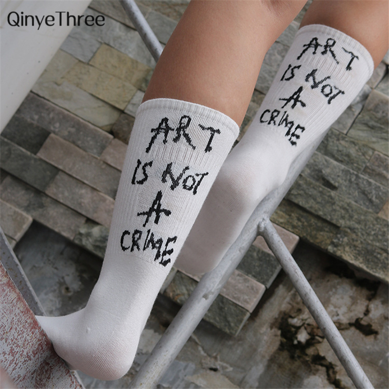 Modern Street Hip-pop   Socks   black white gray cool slang letters Man Woman soft funny slogan mujer Cool Skateboard Girls Boys sox