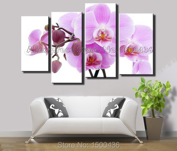Hand painted modern purple orchid wall art canvas flowers oil painting 4 piece abstract home decor living room picture set in painting calligraphy from