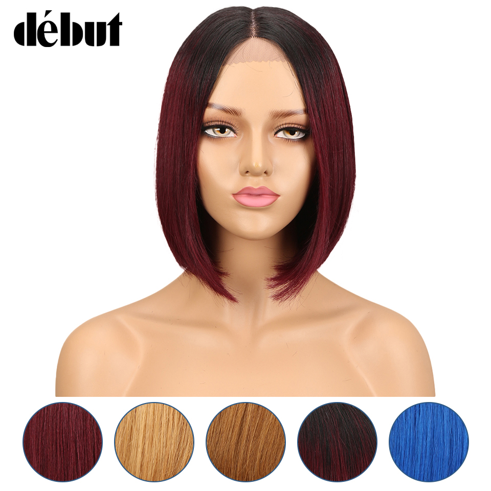 Debut Wig Human Hair Brazilian Straight Lace Part Human Hair Wigs Remy Short Bob Wigs For Black Women Ombre Cheap Lace Wig