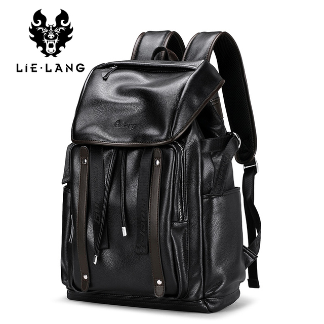 Lielang Backpack Men Fashion Leather Backpacks Anti Theft Bags