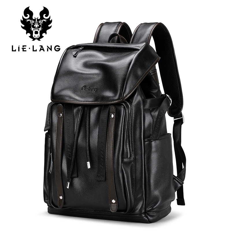 LIELANG Backpack Men Fashion Leather Backpacks Anti-theft Bags Preppy Style College Teenager School Bag For 15.6 Inch Laptop