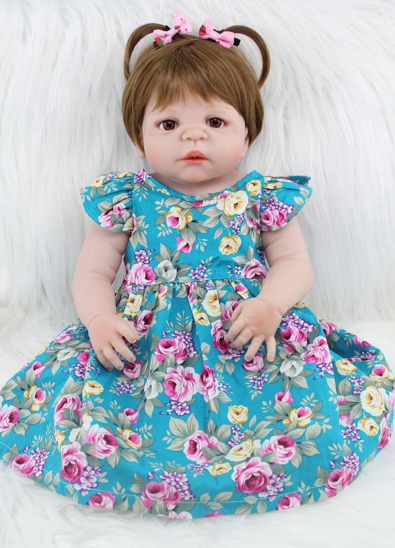 55 cm Full Body Silicone Reborn Fille Bébé Poupée Jouets Réaliste 22 pouces Nouveau-Né Princesse Toddler Bébés Poupée Cadeau D'anniversaire présent