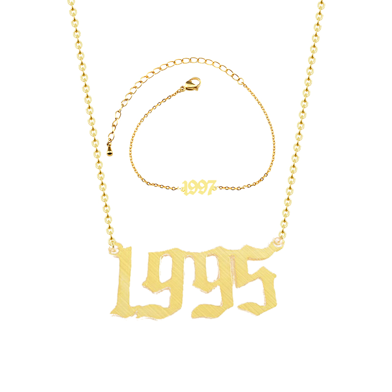 US $17 99 28% OFF|Gold Old English Number Bracelet Custom Letter Date Long  Chain Necklaces Personalized Engrave Gothic Jewelry Set For Women Men-in