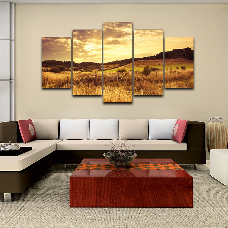Painting Home Decor Frame Room Modern Art HD Printed On Canvas 5 Pieces Wall Pictures Dusk Sunset Grassland Plains Poster