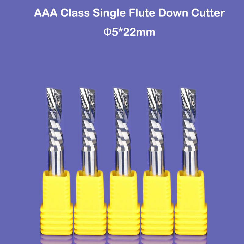 10pcs SHK 5mm 22mm single flute down cut end mill for BK