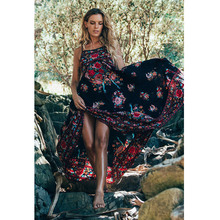 Bohemia Women Tropical Floral Print Dress Vintage Holiday Vestido Halter Spaghetti Sexy Backless Ethnic Shift Chiffon Dress 2017