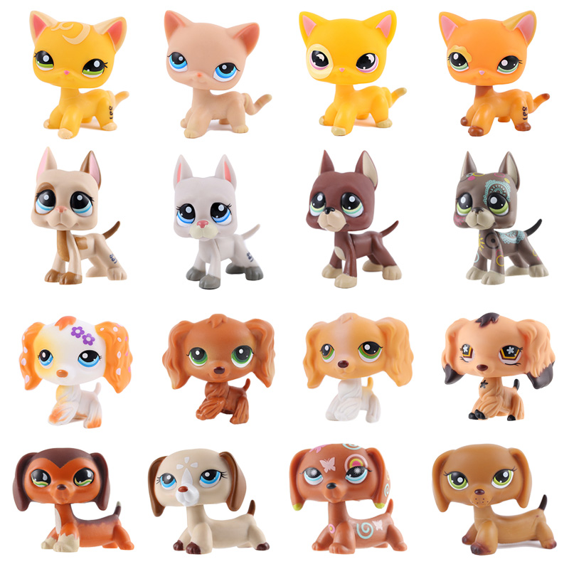 Brand new classic cute pet shop Lps toy cat Great Dane dog PVC small animal model children cute gift