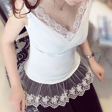 Original New 2016 Brand V-Neck Sexy Lace Camis White Tops for Women Wholesale