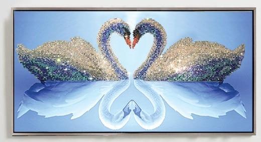 5D DIY Mosaic Art Needlework Diamond Painting Swan Rhinestone Cross Stitch  Animal Wedding Diamond Swans Embroidery New Year Gift 20b1093733c7