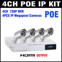 NEW IP Camera NVR POE Kit 4ch 1.3mp CCTV NVR System Video Surveilance Security CCTV 4 Channel Onvif Camera No Need Power