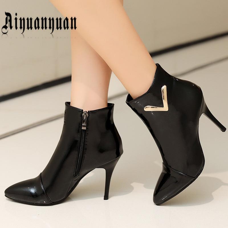 ФОТО 2017 EUR size 36 37 38 39 40 41 42 43 44 45 46 handmade women boots elegant style PU leather zipper design shoes free shipping