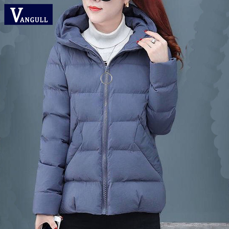 Vangul 2019 Casual Ladies Solid Padded Jacket Short Autumn Winter Wadded Jacket Women Hooded Coats Red Female   Parkas   Outwear New