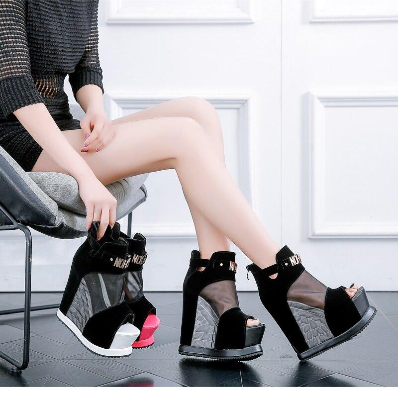 Calçados de Tornozelo Sexy de Verão com Plataforma Boca de Peixe Femininos Sapatos Alta Curto Grosso 2020 Botas