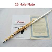 Yüksek Kaliteli C Tuşu 16 Delik Açıklıklar Flüt Gümüş Kaplama Yüzey Altın anahtar Flüt kaplama Fluata müzik aletleri