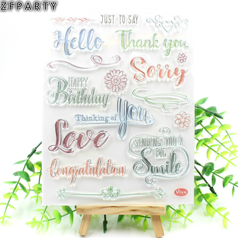 ZFPARTY Happy Birthday Transparent Clear Silicone Stamp/Seal for DIY scrapbooking/photo album Decorative Card Making lovely animals and ballon design transparent clear silicone stamp for diy scrapbooking photo album clear stamp cl 278