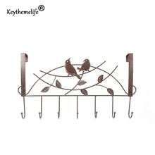 Keythemelife Stainless Steel Door Hooks Hook up Kitchen Hanger Hooks With 7-Hook Towel Hat Clothes Door Wall Hooks D0