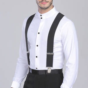 Swokii Wide Elastic Men Trouser Braces Suspenders Clips