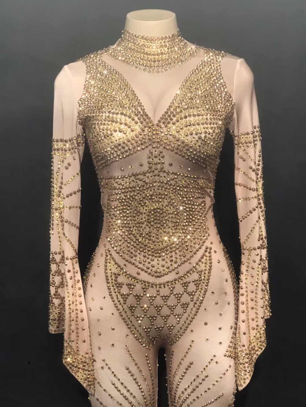 99609d7394398 ... Stage Bling Gold Rhinestones Jumpsuit Women Birthday Celebrate Stretch Costume  Bodysuit Performance Evening Dance Show Wear ...
