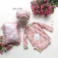 Jane Z Ann Newborn Photography Outfit Baby pink lace pillow Set Infant Photo shoot Props Newborn Photo Clothes baby shower gift