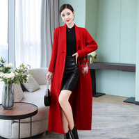Autumn and winter new Chinese wind embroidered coat long windbreaker national wind embroidery ladies V neck wool coat TB1812151