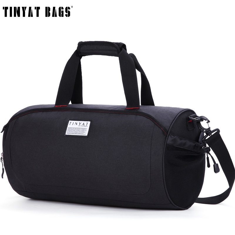 TINYAT Men Travelling Handbag Bag With Shoes Pouch Waterproof Canvas Shoulder Duffel Bag Large Women Carry Trip Luggage Bag Tote