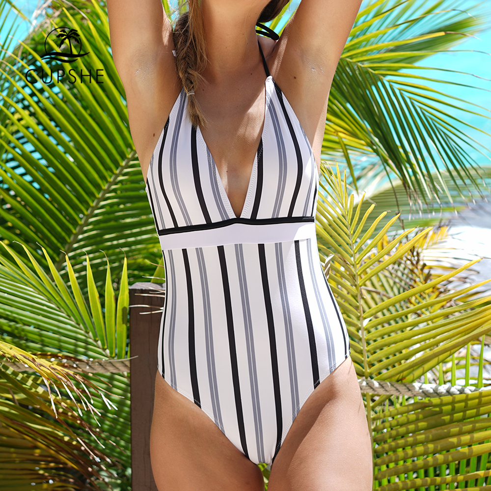 CUPSHE Iceandsnow Love Stripe One-piece Swimsuit Deep V neck Summer Sexy Backless Bikini Set Ladies Beach Bathing Suit Swimwear cupshe floral printing one piece swimsuit women summer sexy swimsuit ladies beach bathing suit swimwear