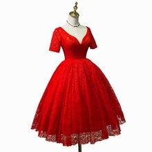 Vestido de Noche de encaje rojo, primavera verano vestido de novia de noche rojo, mujer embarazada de la princesa roja vestido de noche