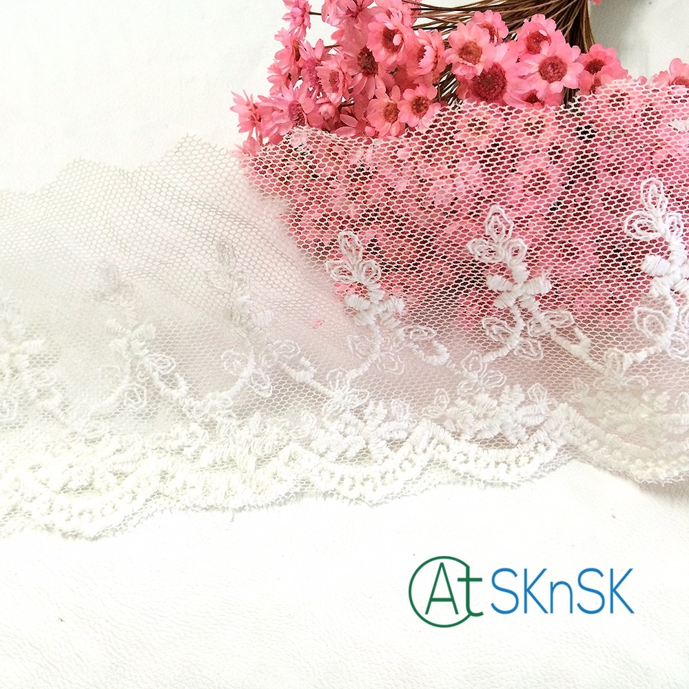 Latest arrival 500 Yard/ lot DIY flower handmade lace fabric white wide 7cm embroidery lace trim textile clothes sewing accessor