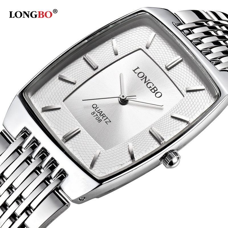 LONGBO Simple Square Dial Lovers Quartz Watch Casual Fashion Steel Strap Watches Men Women Couple Watch Sports Analog Wristwatch 2017 olevs luxury quartz casual watch fashion nylon belt watches men women couple watch for lovers sports wristwatch black