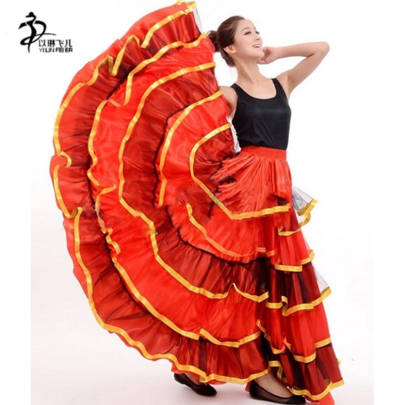 flamenco kjol Spansk Senorita Flamenco Dancer Fancy Dress kostym