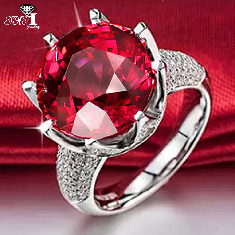 YaYI Fashion Women's Jewelry Ring Red Purple Green CZ Silver Color Engagement Rings wedding Rings Party Rings men wedding band cz rings jewelry silver color anillos bague aneis ringen promise couple engagement rings for women
