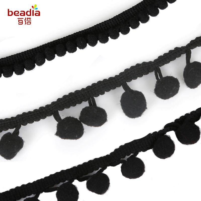 Pompom Fringe 1-Inch Polyester Fringe Rolls for Arts and Crafts Black 10-Yard
