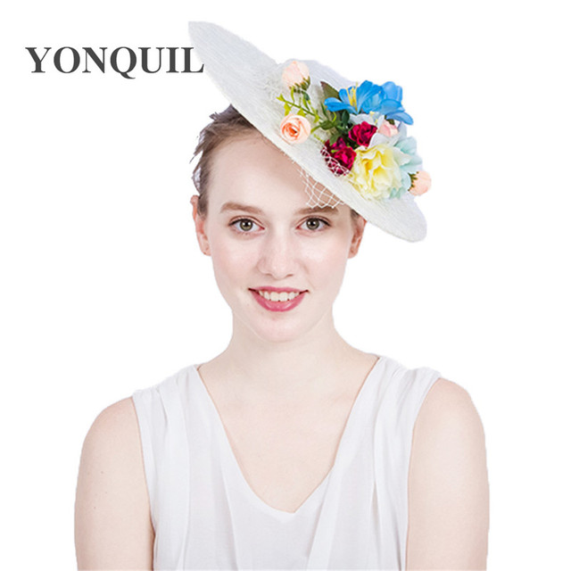 a0030eb71aa19 30CM big size imitation Sinamay Fascinator Hats with silk flower and lace  Kentucky Derby bride Wedding Cocktail Church Hairclips
