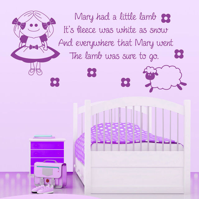 2016 New Mary Had A Little Lamb Nursery Rhyme Wall Sticker Art Quote Vinyl Transfer