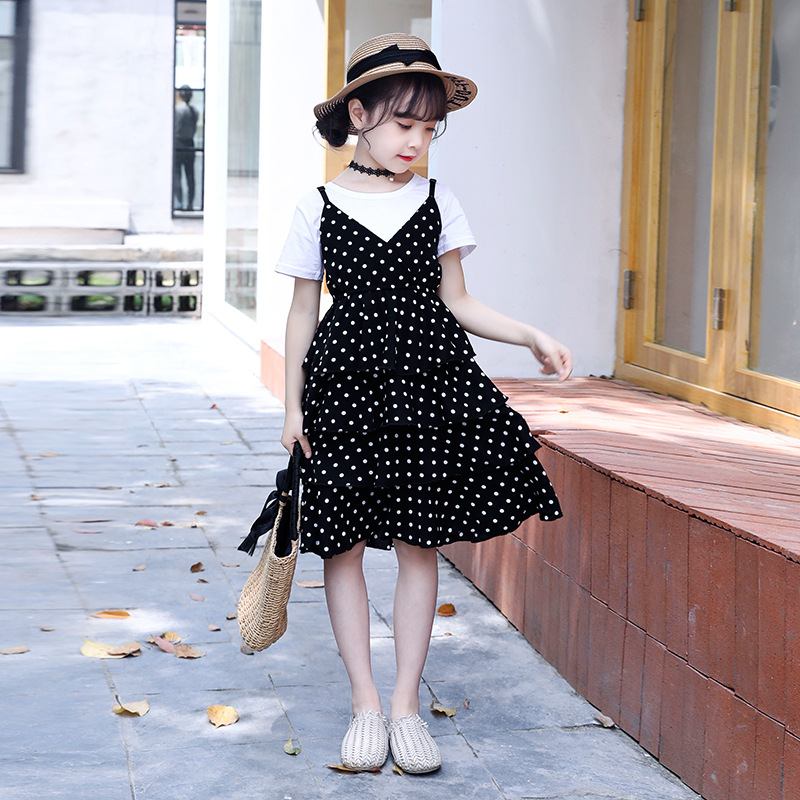 kids Girl for <font><b>clothes</b></font> overall set summer Birthday party dot chiffon black white princess dress and t-shirt christmas outfits image