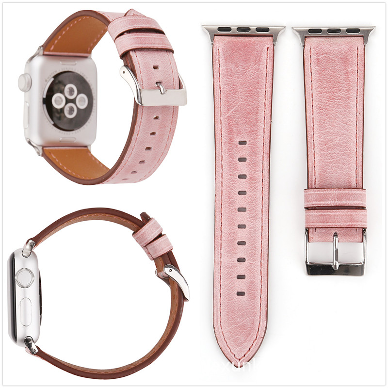 Retro Simple Solid color For Apple iwatch 1 2 3 Series Genuine Leather Watch Strap Bnad 38mm 42mm Watchband And Adapter