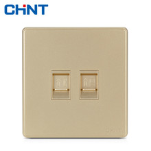 цена CHINT Processor Sockets Wall Switch Socket NEW2D Light Champagne Gold Telephone Computer Socket онлайн в 2017 году