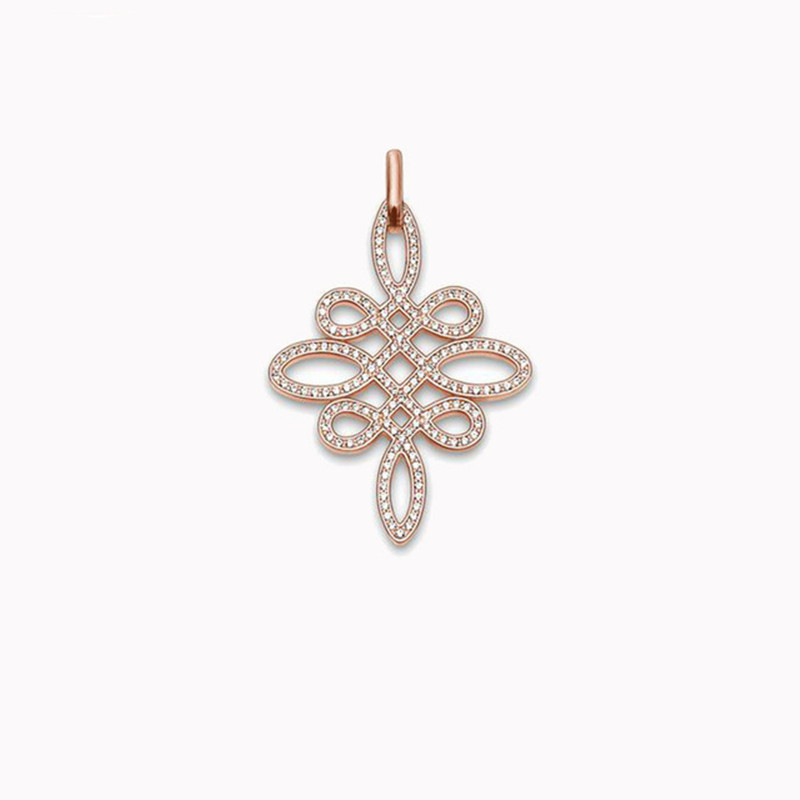 2015 Thomas Style White Zircon Love Knot Pendant TS Silver Club Charm For Necklace Friend And