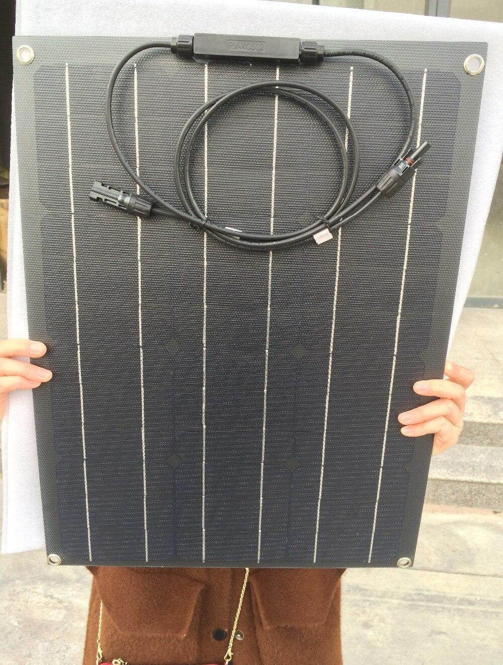 1pcs Solar Panel 40W ETFE Semi Flexible Solar Panel 40W 12V Mono for Caravan Home Off Gird 12V Battery Charging Power|Solar Cells| |  - title=