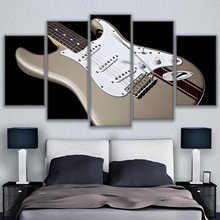 Home Decor Canvas Wall Art Pictures Modular Painting 5 Panel Musical Instrument Guitars For Living Room