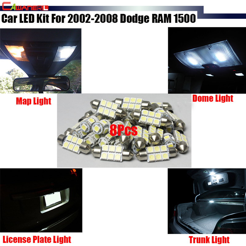 Cawanerl Vehicle LED Package KIT White Car Interior Map Dome License Plate Trunk Lights For 2002-2008 Dodge RAM 1500 shanghai chun shu chunz chun leveled kp1000a 1600v convex plate scr thyristors package mail