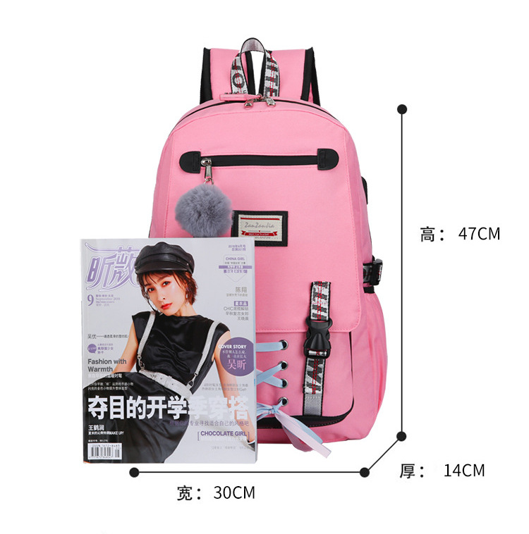 HTB1ll.pa21H3KVjSZFBq6zSMXXal Pink Canvas Backpack Women School Bags for Teenage Girls Preppy Style Large Capacity USB Back Pack Rucksack Youth Bagpack 2019