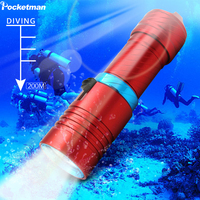 96789ea0a 15000LM Powerful XM L2 Diving Flashlight 200M Underwater LED Torch Scuba  Flashlight Waterproof With 18650 Battery