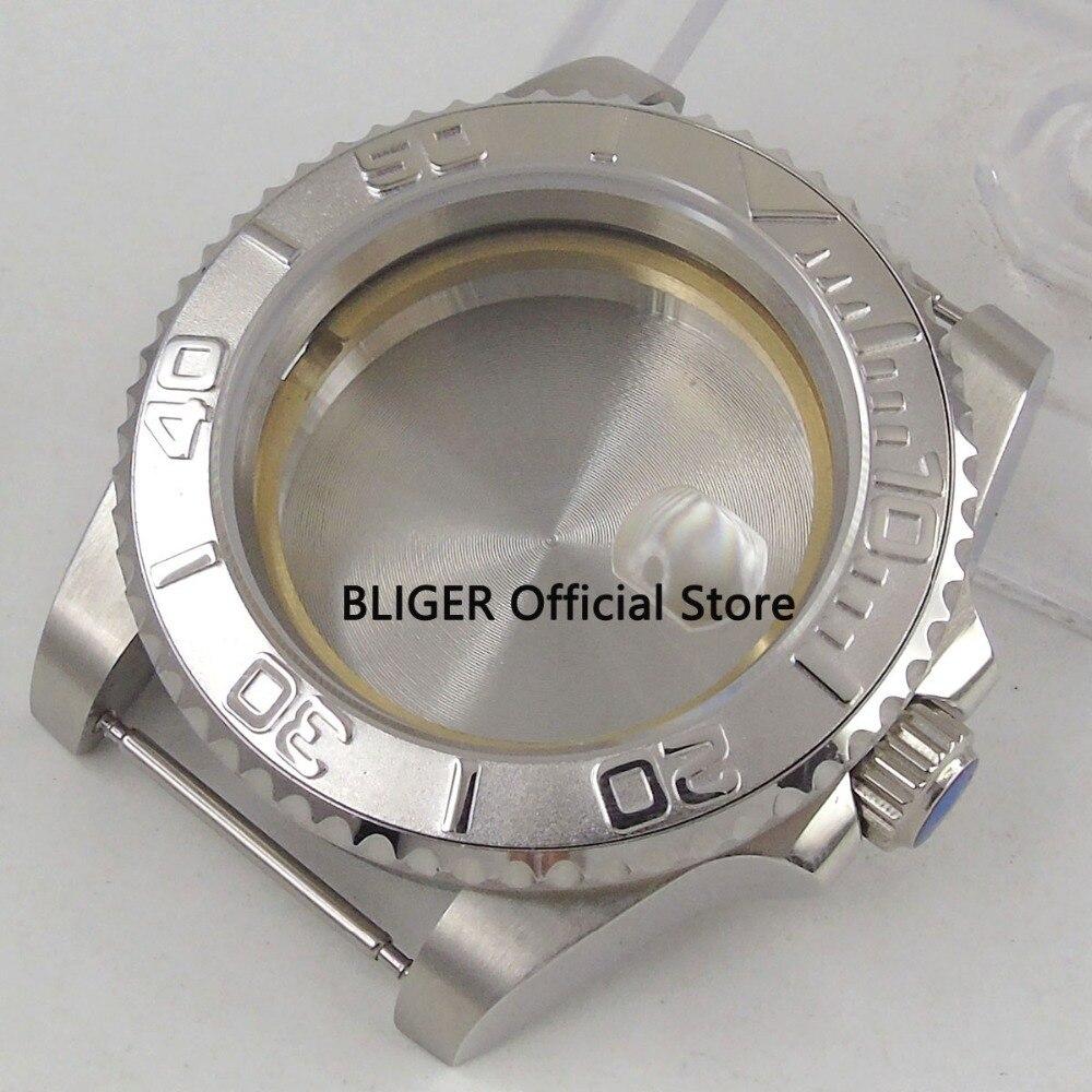 все цены на Sapphire Crystal 40MM Silver Ceramic Bezel 316L Stainless Steel Watch Case Fit For ETA 2824 2836 Automatic Movement C19 онлайн