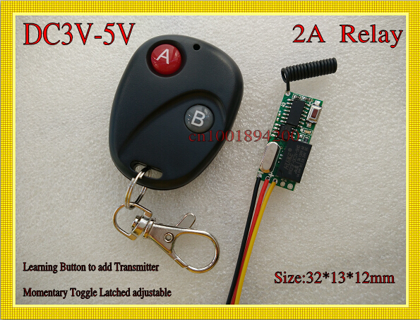 Small Volume Remote Control Switch System Mini Micro DC3V-5V Relay Receiver Transmitter 3.7v 4.2V LED Remote Lighting 315/433 small ac220v remote control switch long range transmitter receiver 200 3000m lamp light led remote lighting switch 315 433 92mhz